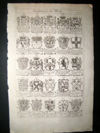 Richard Blome 1686 Folio Antique Print. Heraldry 4
